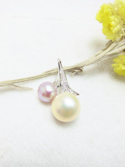 8-11mm櫻桃形雙珍珠墜子【元圓珠寶】