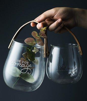 玻璃花瓶 北歐帶提手英文字母水培插花瓶創意水果零食收納罐子(小款)_☆優購好SoGood☆
