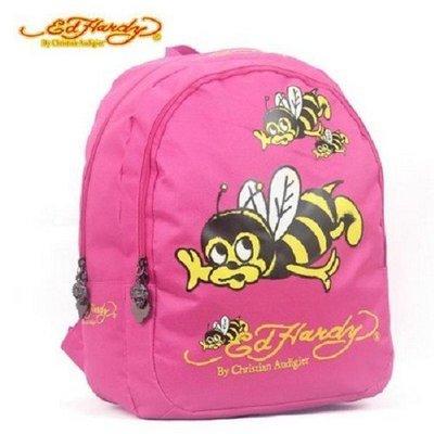 中款❤100%正品美國Ed hardy *中背包 後背包 雙肩背包 開學季潮書包4折!小蜜蜂(粉)下標處