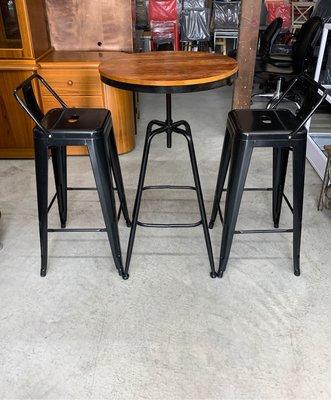 永達二手傢俱生活館/全新實木升降吧台桌+高腳椅/工業風高腳桌+椅/LOFT工業風吧台桌椅/升降桌/吧台椅/旋轉高腳桌