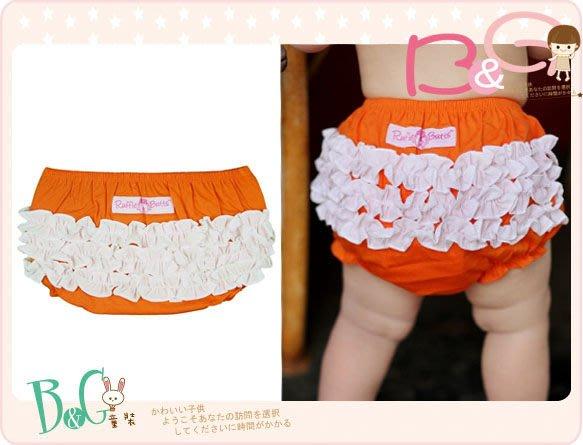 【B& G童裝】正品美國進口RuffleButts Orange w/White 白色荷葉邊橘色包屁短褲18-24mos