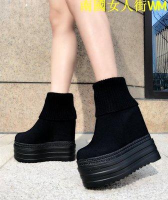 南國女人街WM坡跟短靴子女春秋2019新款百搭高跟鞋女內增高馬丁靴松糕跟兩穿鞋