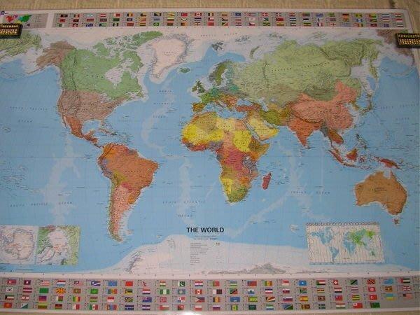 ((1世界地圖))英文版--100X145cm--((名牌))高級世界地圖-英製Michelin-護貝