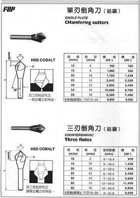 ㊣宇慶S舖㊣ FOP 單刃倒角刀(鈷鋼) 10mm 60度