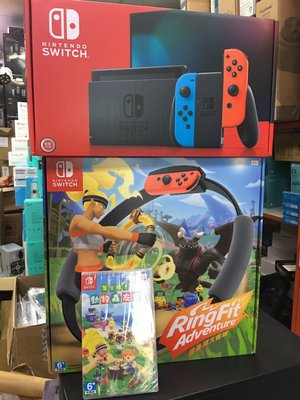 @電子街3C特賣會@全新 任天堂SWITCH 紅藍主機+健身環遊戲+動物森友會遊戲