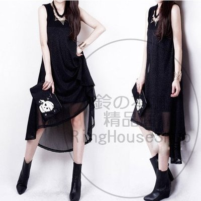✪ RingHouseShop ✪ 春夏新款流行搶先上市 優雅拼接 不規則背心裙