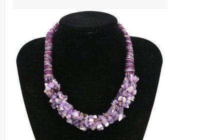 時尚配飾手工天然綠東陵 虎石 紫晶 青晶石項鏈飾品