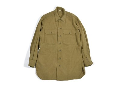 1940s WWII Inspector Army Brown Flannel Shirt 二戰 美軍 公發 襯衫 32