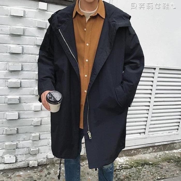 熱銷風衣港風秋季新款夾克男士韓版青年中長款風衣薄款寬鬆連帽外套潮