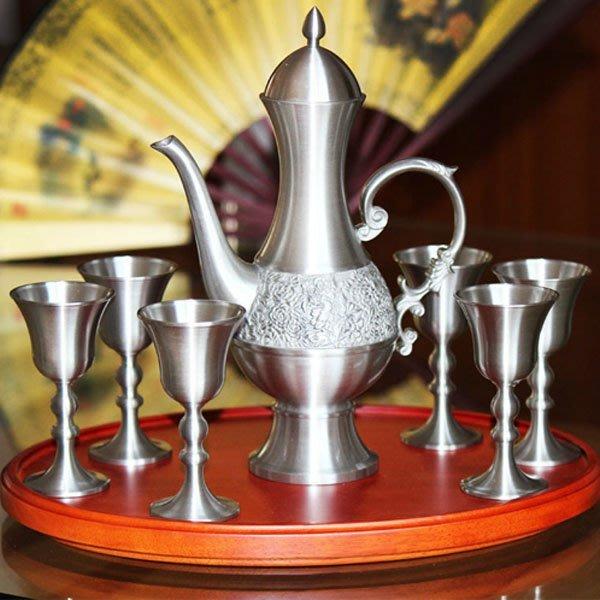 5Cgo【茗道】含稅會員有優惠 14936319037 花好月圓錫制酒具套裝仿古紅酒杯馬來西亞錫杯酒壺商務創意實用禮品