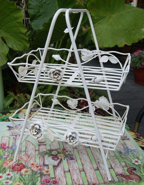 雙層架--秘密花園--南法鄉村風鐵製仿舊刷白玫瑰邊飾雙層籃/收納架/花架--出清價
