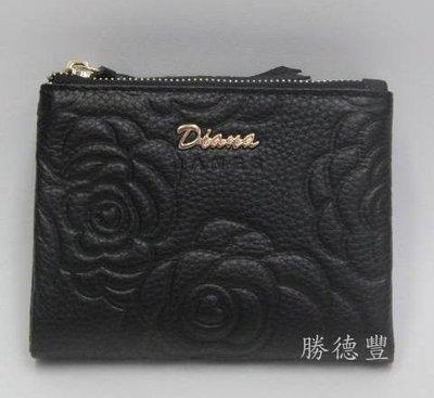 【免運】勝德豐【DIANA黛安娜皮夾】玫瑰花壓紋真皮時尚對摺拉鍊短夾DJ339-4黑色