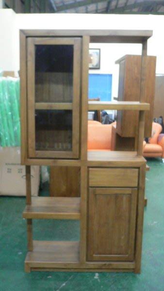 宏品二手家具館 原木傢俱4折拍賣 P135*新一抽二門柚木展示架*實木隔間屏風櫃/高低酒櫃