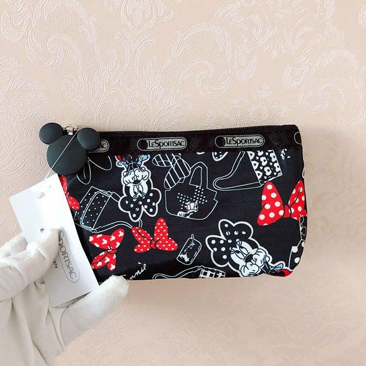 米莉亞代購 LeSportsac Disney 蝴蝶結米妮 2724 化妝包收納包 降落傘防水材質 限量 預購