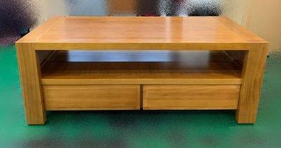宏品二手傢俱館 台中全新中古家具家電拍賣 A11950*實木雙抽屜大茶几 客廳沙發桌*矮桌 泡茶桌 餐桌 電腦桌 書桌椅
