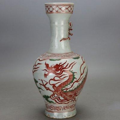 ㊣姥姥的寶藏㊣元代紅綠彩龍紋單耳瓶古玩古董