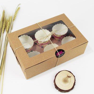 【嚴選SHOP】6格 開窗 牛皮紙方盒 馬芬瑪芬盒 杯子蛋糕 蛋糕盒 慕斯 奶酪 月餅盒 手提盒 布丁盒【C018】