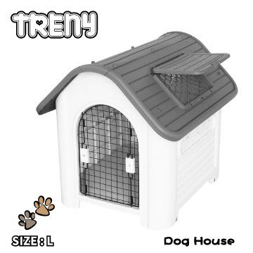 【TRENY直營】TRENY 塑膠狗屋-大款-灰 狗屋 狗籠 貓屋 寵物的家 天窗 通風 419-R