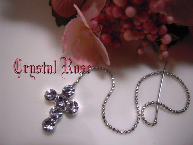 ※水晶玫瑰※ 水晶鑽 耳針式耳環(DD395)