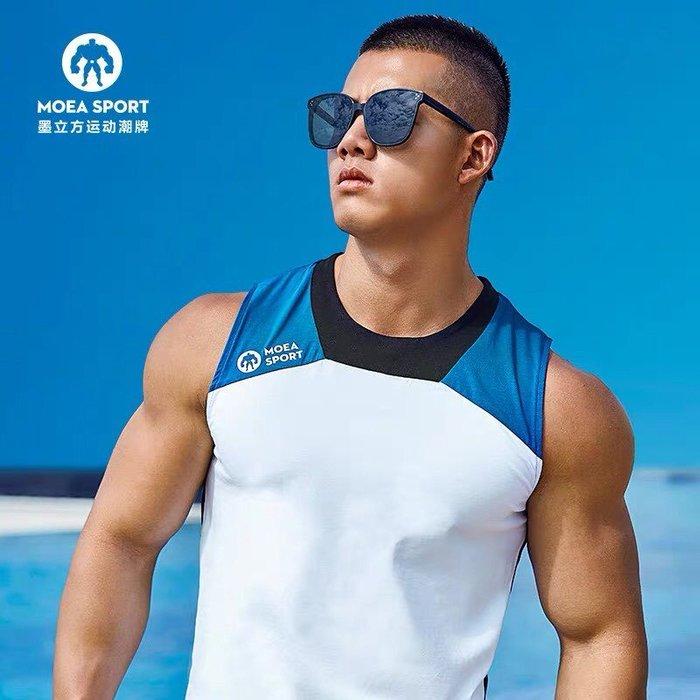【OTOKO Men's Boutique】MOEA墨立方:拼接運動透氣背心/白藍黑色(台灣獨家代理)