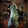 【子芸芳】原創純苧麻立領盤扣連衣裙長衫