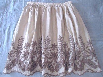 義大利精品PERME米色系MAX CO ANNA SUI MOISELLE款縷空雕花刺繡小圓裙