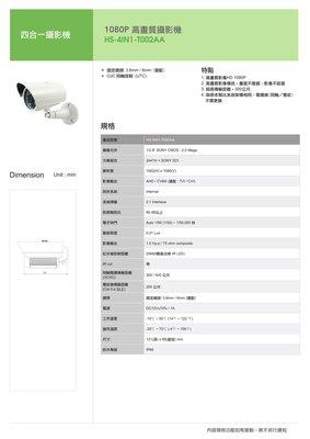 【胖胖秀OA】昇銳HS-4IN1-T002AA 1080P高畫質攝影機(3.6mm/ 6mm)※含稅※