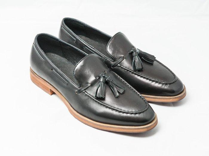 流蘇樂福鞋:小牛皮手工刷色真皮男鞋皮鞋-黑色-免運費-[LMdH直營線上商店]E1B15-99