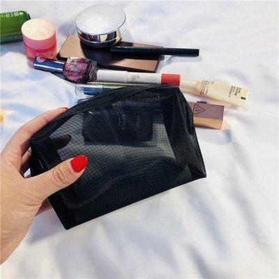 創意 便攜 大容量網紅化妝包小號便攜韓國簡約可愛少女心透明網紗洗漱大容量收納袋