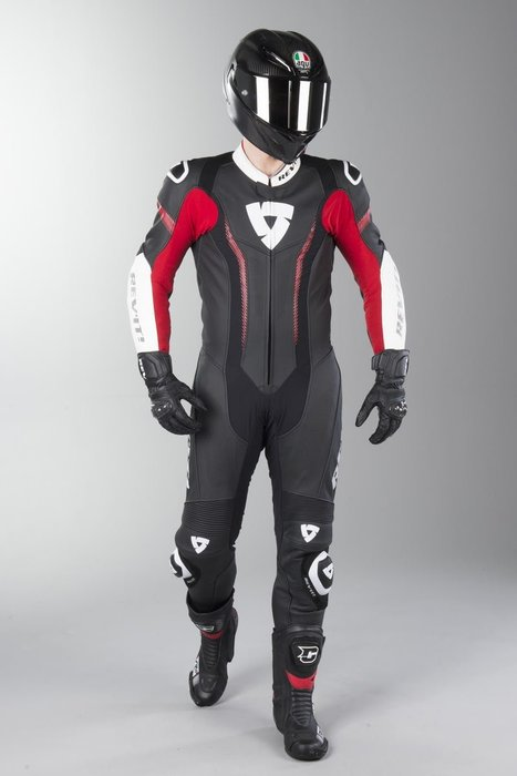 【柏霖動機 台中門市】荷蘭 REVIT  Argon 連身皮衣 FOL031 皮衣 連身  黑紅色002