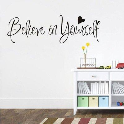 #現貨 壁貼 believe in yourself 臥室書房客廳勵志貼畫 自黏貼紙貼花墻貼壁畫壁紙