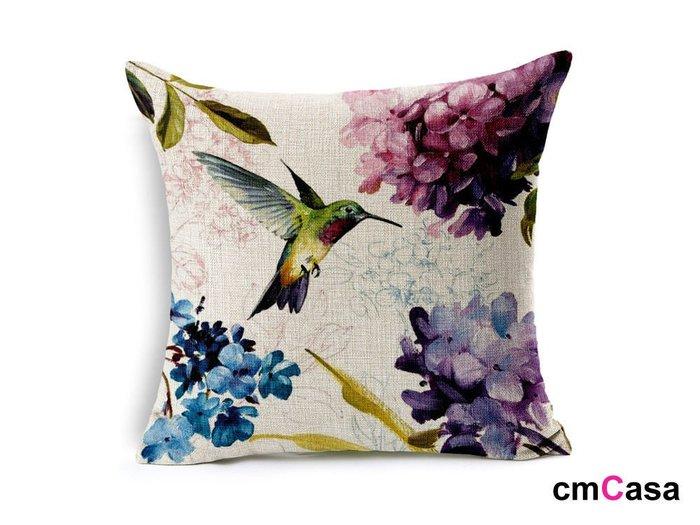 = cmCasa = [4590]英式藝術春漾設計  繡球花和蜂鳥抱枕套 唯美意境新發行