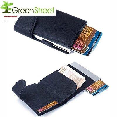 綠光街鋪 韓版側推鋁 卡包 RFID彈出 卡包 自動PU鋁盒錢包 S258