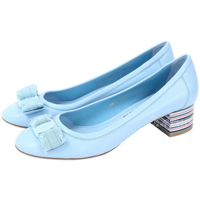 米蘭廣場 Salvatore Ferragamo Elvin40 蝴蝶結彩條紋粗跟鞋(色) 1720392-27