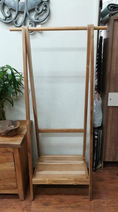 【肯萊柚木傢俱館】(訂製款)獨特自然 100%老柚木 耐用 掛衣架 收納架 限量商品