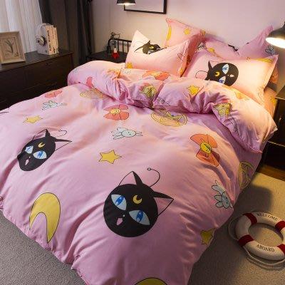 人氣卡通-美少女戰士款 露娜2018卡通春夏版床包4件組(被套+床單+枕套) 親膚棉質柔軟舒服  平價便宜cp值高