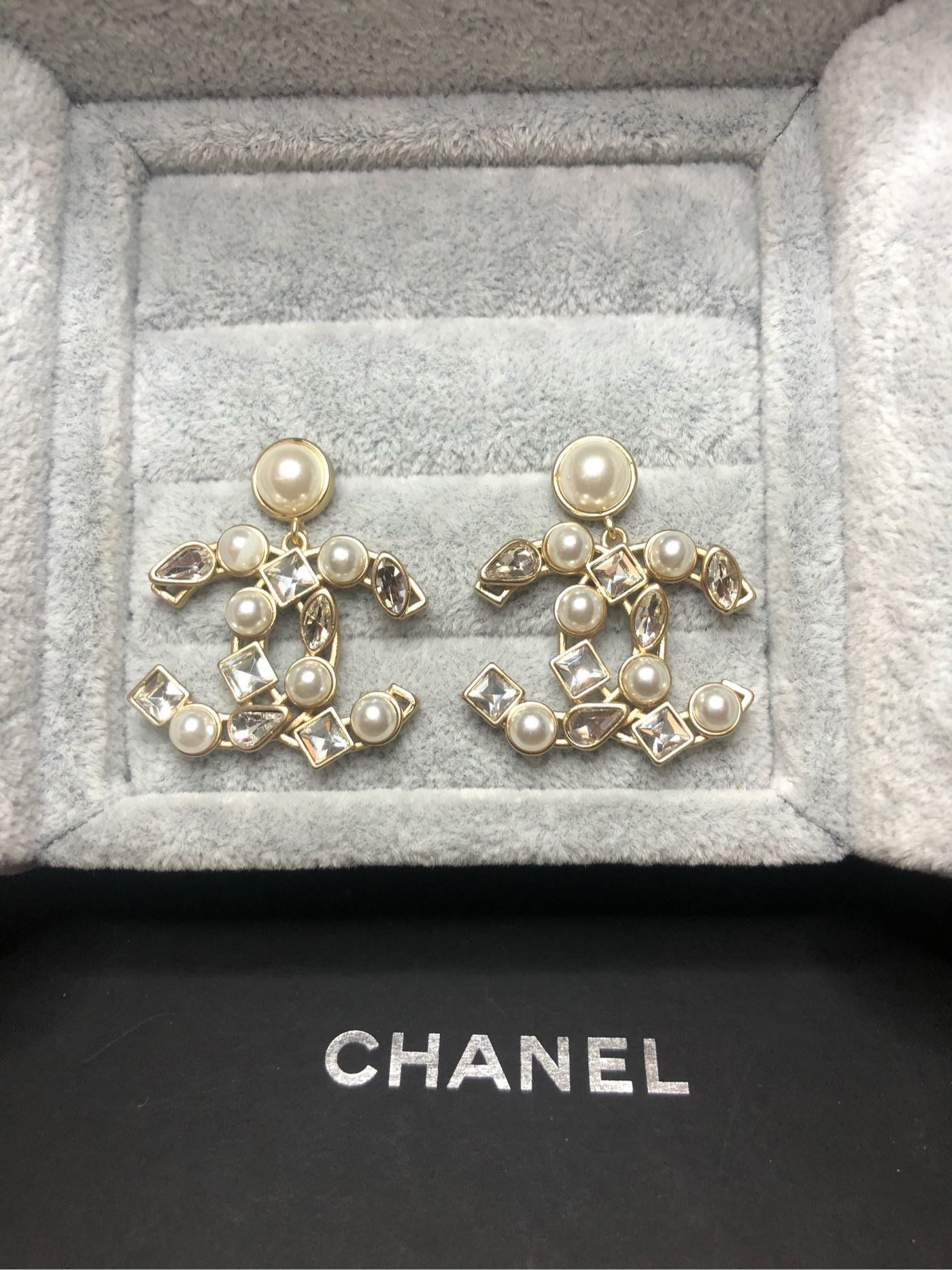 CHANEL 香奈兒 二手 超美 珍珠 水滴 水鑽 小垂墜式耳環