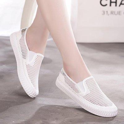 鏤空網面白色帆布鞋女鞋透氣舒適白搭潮鞋懶人套腳布鞋