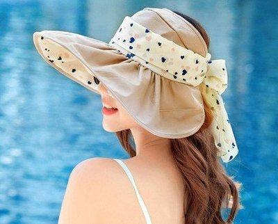 帽子大沿沙灘防曬太陽帽可折疊涼帽