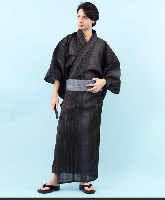 05日本 日式和服男正裝 夏日祭 浴衣 傳統套裝 武士經典豎紋