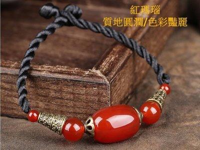 原創手工紅瑪瑙百搭簡單手鍊氣質手串