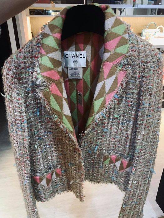典精品名店 Chanel 真品 斜紋軟呢 雙C 外套 尺寸 36 現貨