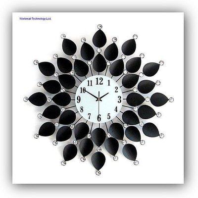 yes99buy加盟-超大號奢華鐵藝鑲鑽藝術時鐘時尚創意個性歐式鐘表客廳靜音掛鐘
