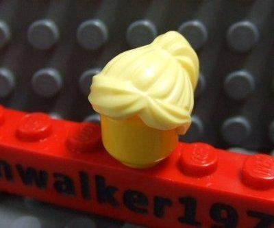 【積木1977】 Lego樂高-全新 亮黃色瀏海馬尾頭髮/ (Bright Light Yellow)(H-07)