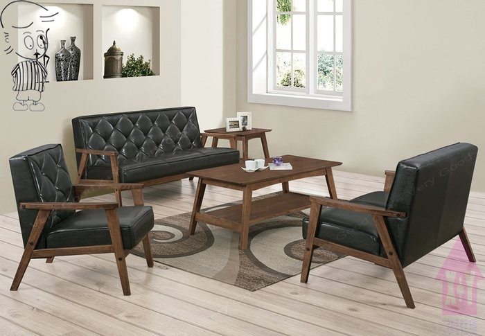 【X+Y時尚精品傢俱】現代沙發組椅系列-提爾 胡桃色黑皮沙發組(1+2+3)不含大小茶几.實木組椅.可拆賣.摩登家具