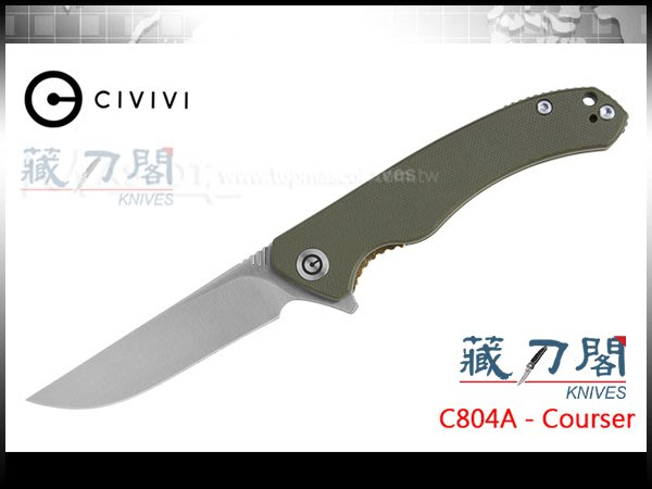 《藏刀閣》CIVIVI-(Courser)駿馬-日本VG-10鋼綠色G10柄折刀