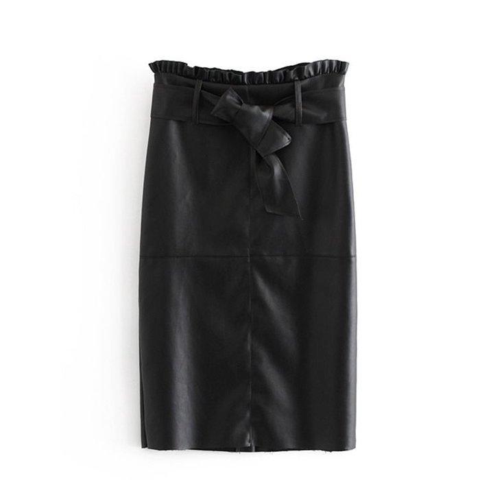 100percent選品-時尚高腰黑色荷葉邊繫帶顯瘦皮裙
