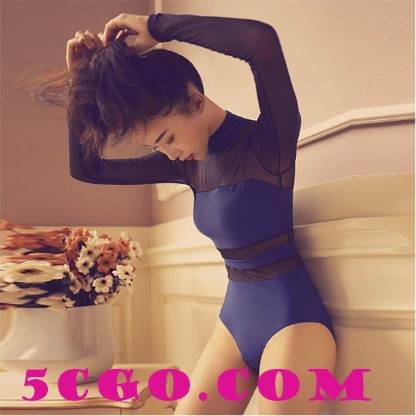 5Cgo【鴿樓】會員有優惠 556784535421  新款女子性感網紗拼接高領瑜伽服塑身形體芭蕾舞蹈連體服
