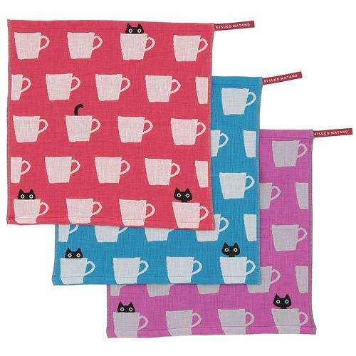 ◎Life Sense◎【Atsuko Matano】日本製保野溫子杯子貓三層紗布手帕 MEME毛巾 小方巾 口水巾