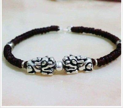 水晶森林手創館~925純銀貔貅蠟線幸運繩手環。。